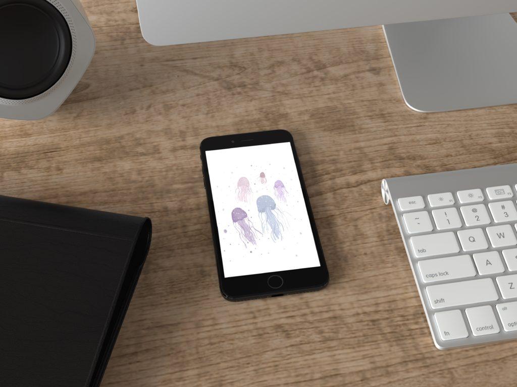 Fond d'écran smartphone méduses illustratrice